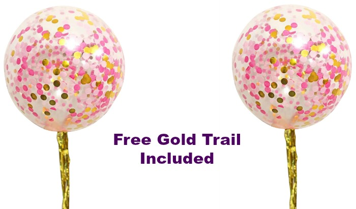 jumbo pink and gold confetti balloons