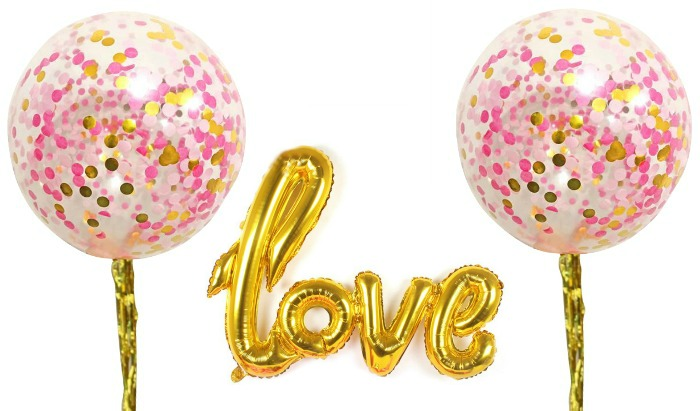 pink and gold wedding balloons